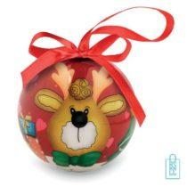 Kerstbal geschenk rendier rood bedrukken met logo