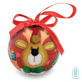 Kerstbal geschenk rendier rood bedrukken met logo, kerst relatiegeschenken