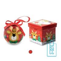 Kerstbal geschenk rendier rood bedrukken