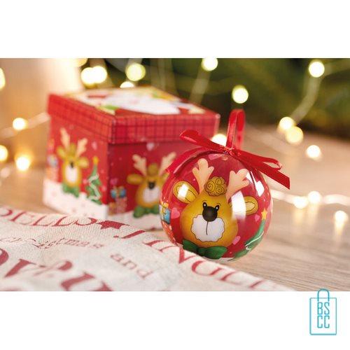 Kerstbal geschenk rendier rood bedrukte, kerst relatiegeschenken