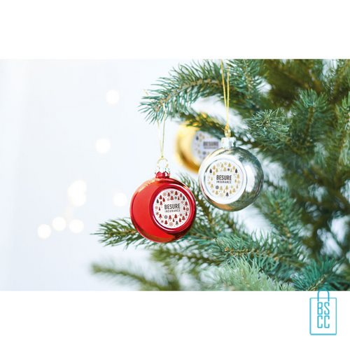 Kerstbal klassiek goedkoop bedrukken met logo, kerst relatiegeschenken