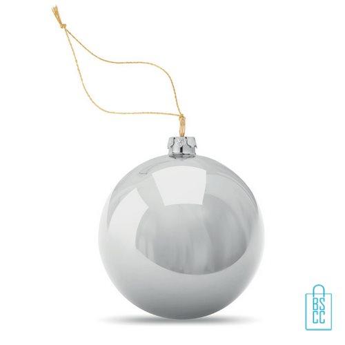 Kerstbal klassiek goedkoop bedrukken zilver, kerst relatiegeschenken