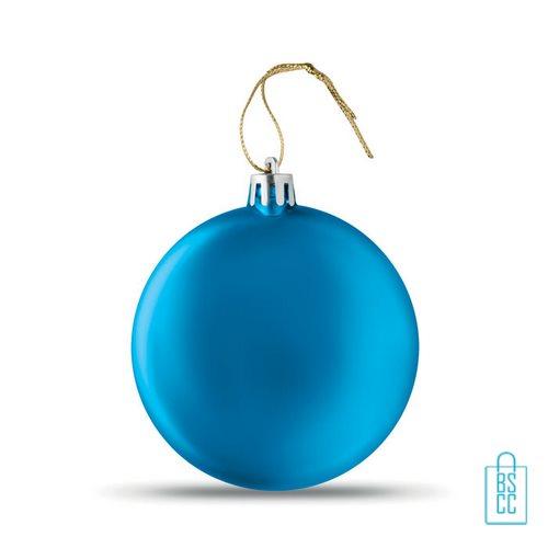 Kerstbal vlak bedrukken blauw, kerst relatiegeschenken