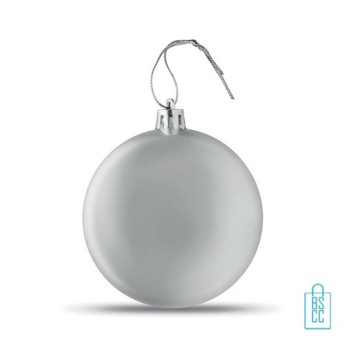 Kerstbal vlak bedrukken zilveren, kerst relatiegeschenken
