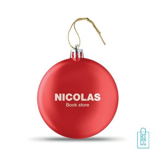 Kerstbal vlak goedkoop bedrukken rode, kerst relatiegeschenken