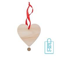 Kerstboomhanger houten hartje bedrukken