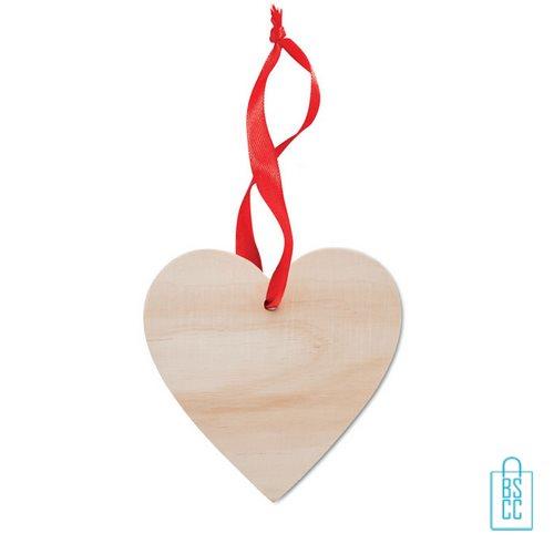Kerstboomhanger houten hartje bedrukt, kerst relatiegeschenken