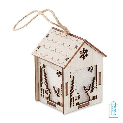 Kerstboomhanger houten huisje bedrukken met logo, kerst relatiegeschenken