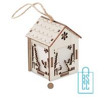 Kerstboomhanger houten huisje bedrukken