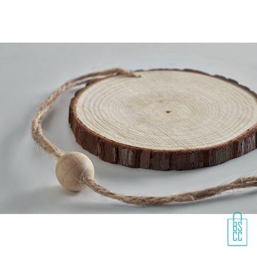 Kerstboomhanger stamschijf bedrukken hout, kerst relatiegeschenken