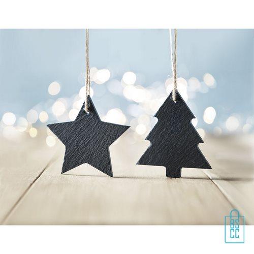 Kerstboomhanger ster bedrukt goedkoop, kerst relatiegeschenken