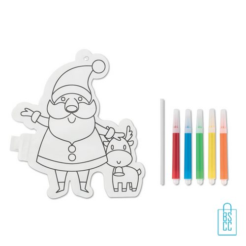 Kleurplaat kerstman bedrukt stiften, kerst relatiegeschenken