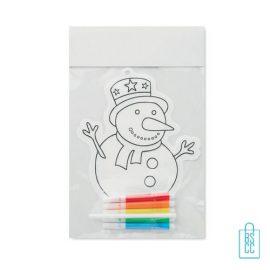 Kleurplaat sneeuwpop kinderen bedrukt, kerst relatiegeschenken