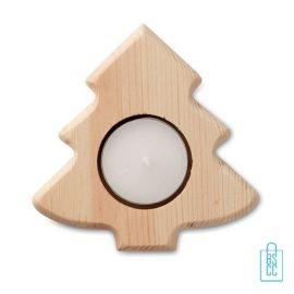 Theelichthouder kerstboom hout bedrukken, kerst relatiegeschenken