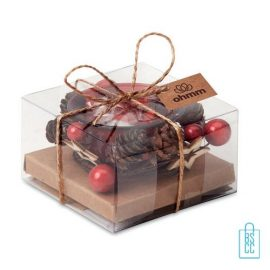 Theelichthouder kerstdecoratie bedrukken giftset met kaartje, kerst relatiegeschenken