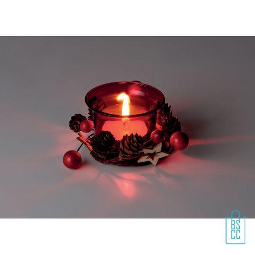 Theelichthouder kerstdecoratie bedrukken giftset rood, kerst relatiegeschenken