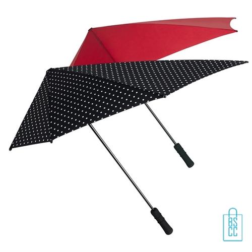Stormparaplu bedrukken ST-20-ASS zwart stippen rood