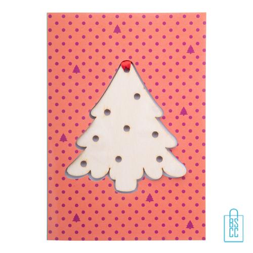 Duurzame kerstkaart hout bedrukken kerstboom, kerst relatiegeschenken