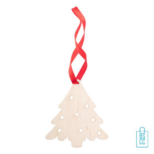 Duurzame kerstkaart hout bedrukken kerstboomhanger kerstboom, kerst relatiegeschenken