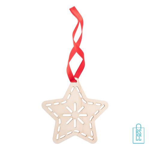 Duurzame kerstkaart hout bedrukken kerstboomhanger ster, kerst relatiegeschenken