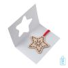 Duurzame kerstkaart hout bedrukt ster binnenzijde, kerst relatiegeschenken