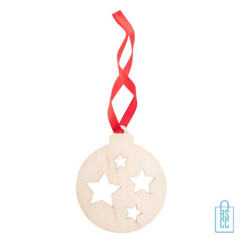 Duurzame kerstkaart hout kerstbal bedrukt met logo, kerst relatiegeschenken