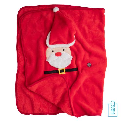 Fleeceplaid rendier kerstman dekentje, kerst relatiegeschenken