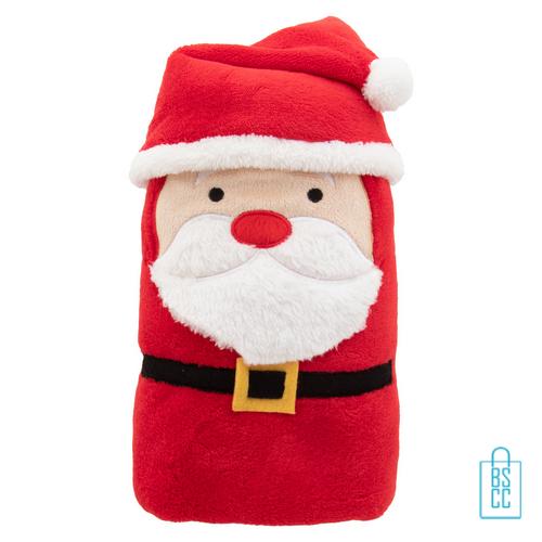 Fleeceplaid rendier kerstman rood, kerst relatiegeschenken