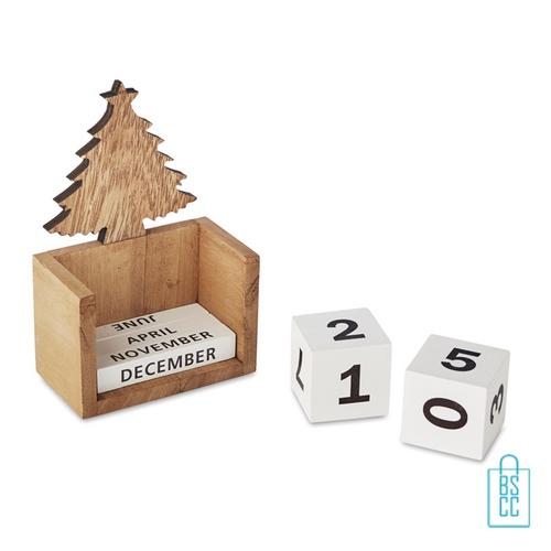 Kerst bureaukalender blok hout bedrukt geschenk, kerstgeschenken bedrukken
