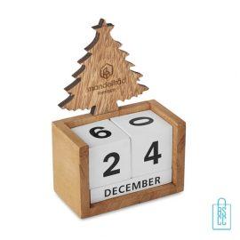 Kerst bureaukalender blok hout bedrukt logo, kerstgeschenken bedrukken