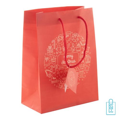 Kerst cadeautas rood S giftbag, kerst relatiegeschenken