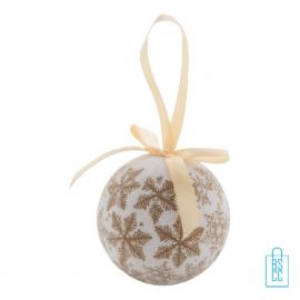 Kerstbal parelmoer sneeuwvlok goud bedrukken, kerst relatiegeschenken