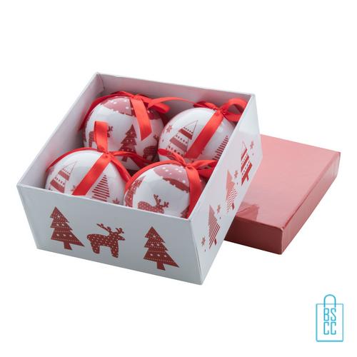 Kerstbalset 4 glimmend wit rood cadeauverpakking, kerst relatiegeschenken