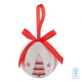 Kerstbalset 4 glimmend wit rood kerstboom, kerst relatiegeschenken