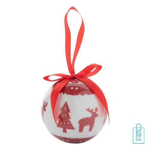 Kerstbalset 4 glimmend wit rood rendier, kerst relatiegeschenken