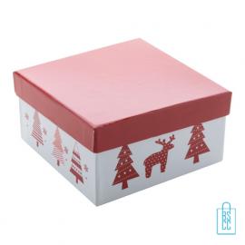 Kerstbalset 4 glimmend wit rood verpakking, kerst relatiegeschenken