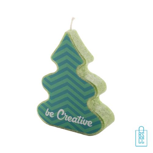 Kerstboom kaars bedrukken, kerst relatiegeschenken