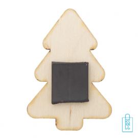 Kerstboom koelkastmagneet hout bedrukken achterzijde, kerst relatiegeschenken