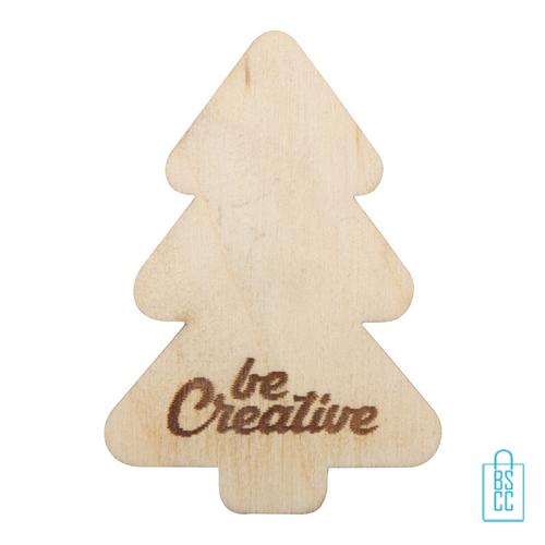 Kerstboom koelkastmagneet hout bedrukken, kerst relatiegeschenken