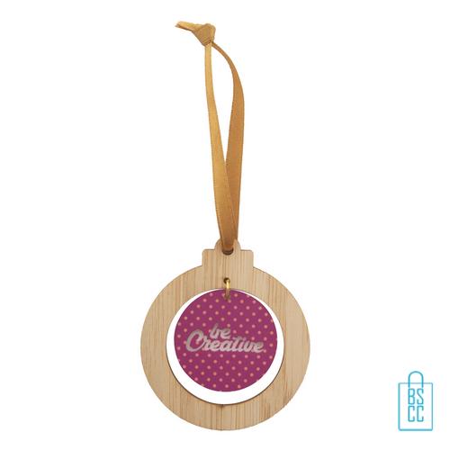 Kerstboomhanger acryl bamboe, kerst relatiegeschenken