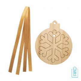 Kerstboomhanger bamboe 3D sneeuwvlok met logo, kerst relatiegeschenken