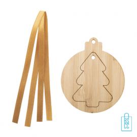 Kerstboomhanger bamboe 3Dkerstboom met logo, kerst relatiegeschenken