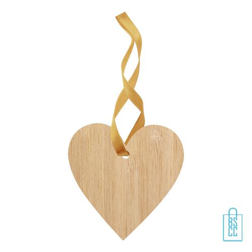Kerstboomhanger bamboe hartje bedrukken, kerst relatiegeschenken