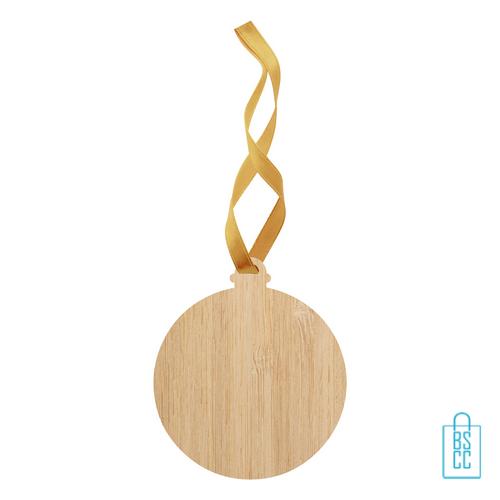 Kerstboomhanger bamboe kerstbal bedrukken, kerst relatiegeschenken
