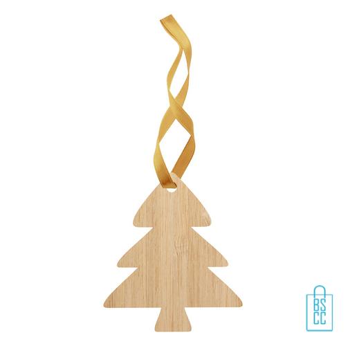 Kerstboomhanger bamboe kerstboom bedrukken, kerst relatiegeschenken