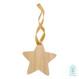 Kerstboomhanger bamboe ster bedrukken