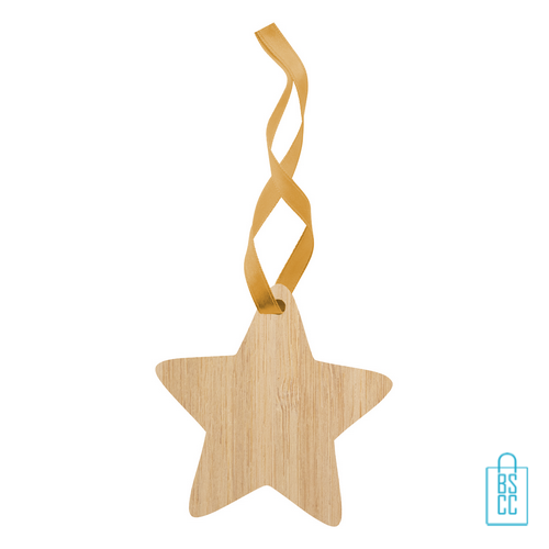 Kerstboomhanger bamboe ster bedrukken, kerst relatiegeschenken
