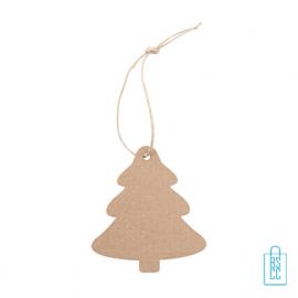 Kerstboomhanger golfkarton kerstboom achterzijde, kerstgeschenken bedrukt