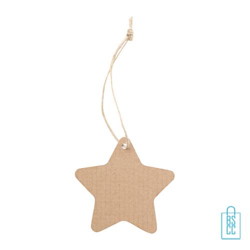 Kerstboomhanger golfkarton ster met logo, kerstgeschenken bedrukt