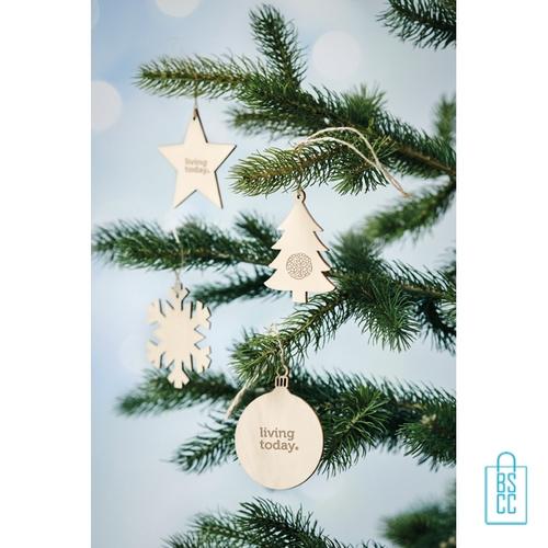 Kerstboomhanger hout kerstbal bedrukken, kerstgeschenken bedrukken